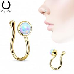 Faux piercing de nez doré avec opale blanche Wap FAU313