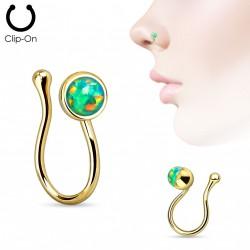 Faux piercing de nez doré avec opale verte Ogux Faux piercing5,49€