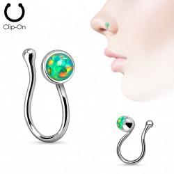 Faux piercing de nez avec opale verte de synthèse Nyjo