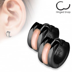 Boucle anneau noir orné de coquillage Ciom ANN119