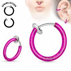 Faux piercing anneaux 10mm rose et noir à clip Paz FAU324