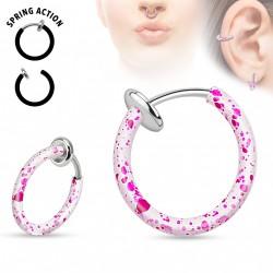 Faux piercing anneaux 10mm blanc et rose à clip Puku FAU324