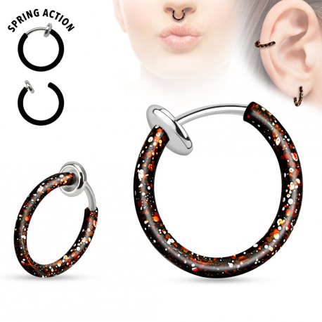 Faux piercing anneaux 10mm noir et rose à clip Moy FAU324