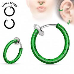 Faux piercing anneaux 10mm vert et noir à clip waq