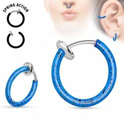 Faux piercing anneaux 10mm bleu et noir à clip Puko FAU324