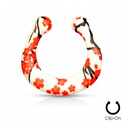 Faux piercing nez septum fleurs rouge Huk FAU325