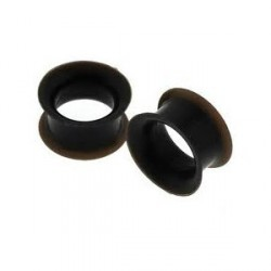 Piercing tunnel silicone noir 12mm Hidol PLU042