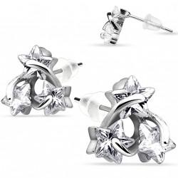 Puces d'oreilles avec trois étoiles en zirconium blanc Bag PUC095