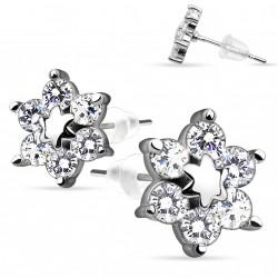 Puces d'oreilles motif fleur et étoile en zirconium blanc Kaz PUC096