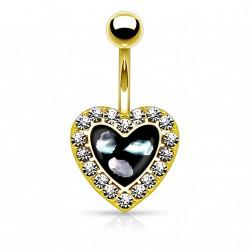 Piercing nombril doré en forme de coeur noir avec nacre Nafe NOM639