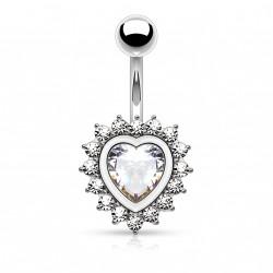 Piercing nombril en forme de coeur avec un zirconium blanc Saq NOM640