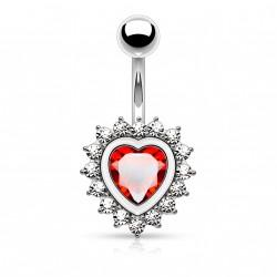 Piercing nombril en forme de coeur avec un zirconium rouge Syk NOM640