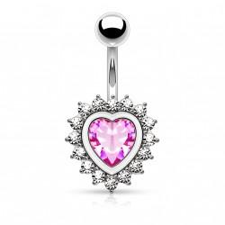 Piercing nombril en forme de coeur avec un zirconium rose Solmo NOM640