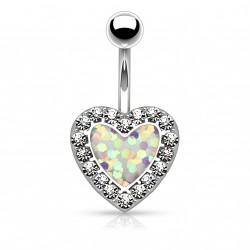 Piercing nombril en forme de coeur opaline blanche Buk NOM645