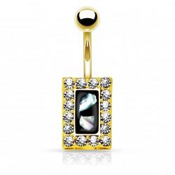 Piercing nombril doré square et cristal noir nacré Rok NOM647
