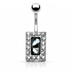 Piercing nombril square et cristal noir nacré Ruko NOM647