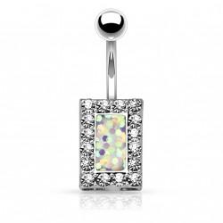 Piercing nombril square et opaline blanche Ruku NOM648
