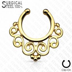 Faux piercing septum vintage doré motif floral Wuh FAU332