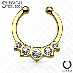 Faux piercing septum doré avec crystals blanc Wom FAU333