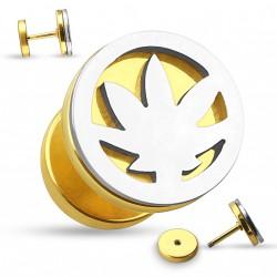 Faux piercing plug doré et une feuille de cannabis acier Gax FAU334