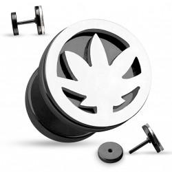 Faux piercing plug noir et une feuille de cannabis acier Gyh FAU334