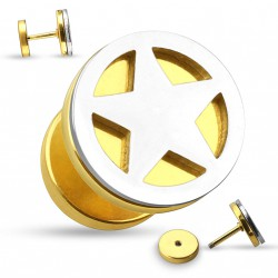 Faux piercing plug doré et une étoile en acier Gyk FAU336