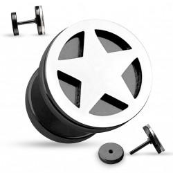 Faux piercing plug noir et une étoile en acier Gygo Faux piercing4,60€
