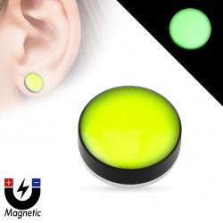 Faux piercing plug jaune vert aimanté fluo Gaol FAU338