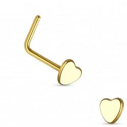 Piercing nez avec coeur doré et coudé Calox