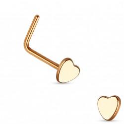 Piercing nez avec coeur or rose et coudé Cax Piercing nez2,30€