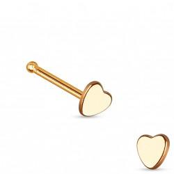 Piercing nez avec coeur or rose et droit Cazuy NEZ093