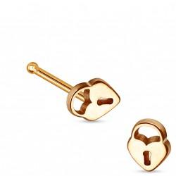 Piercing nez avec un cadenas or rose et droit Cik NEZ094