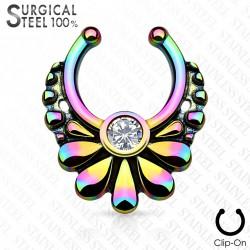 Faux piercing septum arc en ciel motif fleur Kow FAU342