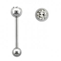 Piercing langue 19mm boule avec crystal blanc Coxaz LAN016