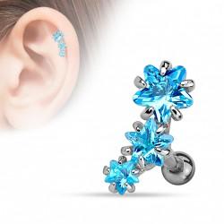 Piercing Tragus Helix avec étoiles bleu Saq TRA082
