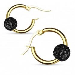 Boucle d'oreille doré et boule en crystal noir tax Bijoux6,60€