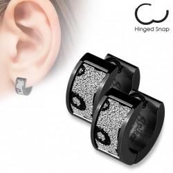 Boucle anneau noir motifs léopard scintillante Coko