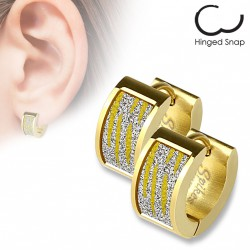 Boucle anneau oreille doré avec motifs zébrés scintillants Cady ANN123