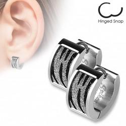 Boucle anneau oreille acier avec motifs zébrés scintillants Comy ANN124