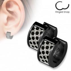 Boucle anneau avec motifs mouchetés noir Tyaz ANN126