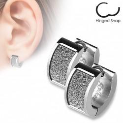 Boucle anneau acier avec un square scintillant blanc Xag