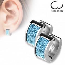 Boucle anneau acier avec un square scintillant bleu Xik ANN128