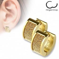 Boucle anneau acier doré avec un square scintillant Xok ANN129