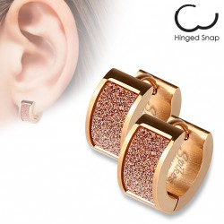 Boucle anneau acier or rose avec un square scintillant Haz ANN130