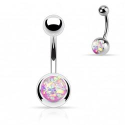 Piercing nombril boule acier avec opale violette Duka
