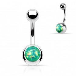 Piercing nombril boule acier avec opale verte Maz NOM010