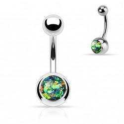 Piercing nombril boule acier avec opale vert foncé Myt NOM010
