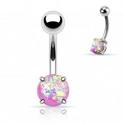 Piercing nombril avec opale violette sertie Dyxe
