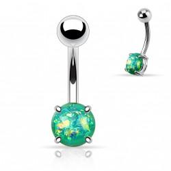 Piercing nombril avec opale verte sertie Dyko NOM027