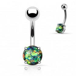 Piercing nombril avec opale vert foncé sertie Dywa NOM027